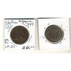Belgium, 1849 5 Centimes; VF and 1867 2 Francs; Fine.