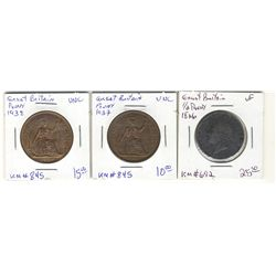 Great Britain 1/2 Penny 1826 VF, Penny 1937 UNC & 1938 UNC. Lot of 3 coins.