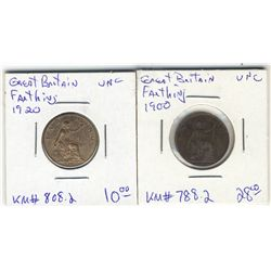 Great Britain Farthing 1900 UNC & 1920 UNC. Lot of 2 coins.