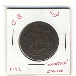 Great Britain Token; Norfolk Castle 1792 Token, Norwich Shield & Loom John Harvey.