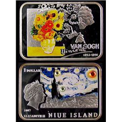 Niue Island 2007 1 Ag Proof Dollar ; Van Gogh, Painters of the World.