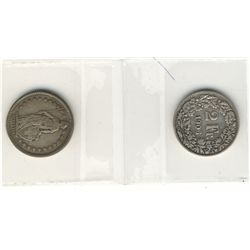 Switzerland; 2 Francs 1906B and 1916B both VF-20. Lot of 2 coins.