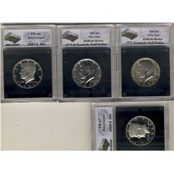 United States 50 Cents  1972, 1973D NGS MS-64, 1987S NGS PR-66 Deep Cameo & 1989S NGS PR-67 Deep Cam