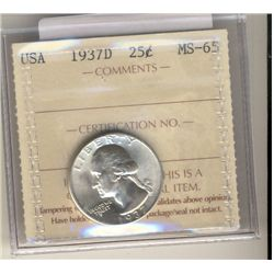 United States, 25 Cent 1937D, ICCS MS-65