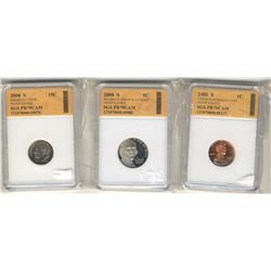 United States Cent 2008 S, 5 Cents 2008 S & 10 Cents 2008 S all SGS PR70CAM; Heavy Cameo. Lot of 3 c