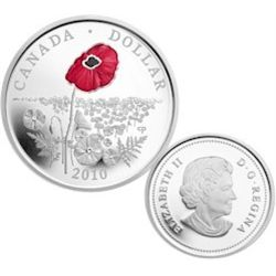 Canada 1 Dollar 2010, Proof Enameled Poppy; Case, Sleeve & COA, included only 5000 issued.