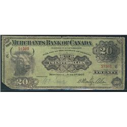 1907 the Merchants Bank of Canada; VG, Charlton , 51503.  Only 14 known, missing corner and small ni