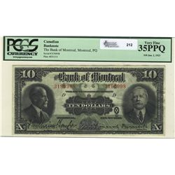 1923 The Bank of Montreal; 10 Dollars, PCGS VF-35PPQ, 3190998.