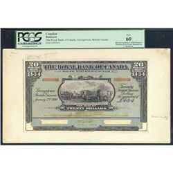 1920's The Royal Bank of Canada; 20 Dollars (L4.3.4), PMG UNC-60, Charlton 630-36-04P, A000000A.  Pr