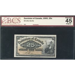 1900 Dominion Bank of Canada; 25 Cents BCS EF45, DC-15b.