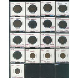 Cents 1859(4), 1876H, 1881H(4), 1891 LLLD, 1892, 1899 & 1929(4).  Small lot of varieties and die iss