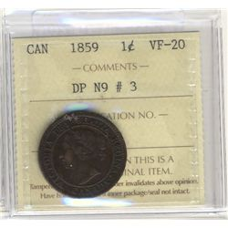 Cent 1859, ICCS VF-20; DP N9 #3.