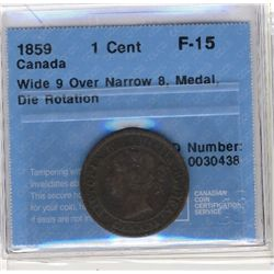 Cent 1859, CCCS F-15; Wide 9 Over Narrow 8, Medal, Die Rotation.