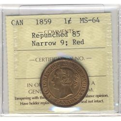 Cent 1859, ICCS MS64; Red, Nar 9 repunched 85.