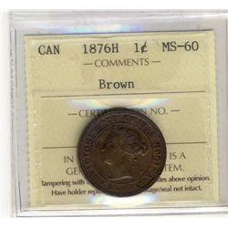 Cent 1876H ICCS MS60 Brown.