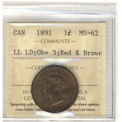 Cent 1891, ICCS MS-62 Obv 3; RB, LL LD.