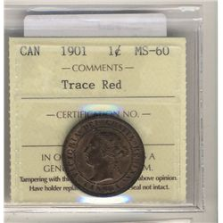 Cent 1901 ICCS MS60 Trace Red.