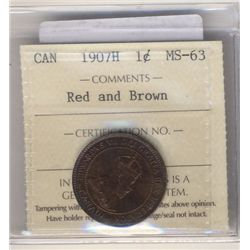Cent 1907H, ICCS MS-63; Red and Brown.