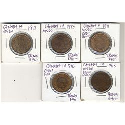 Cents 1911 1913(2), 1915 & 1916 all UNC RD to RB with lustre.