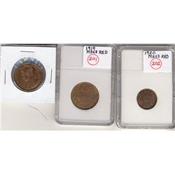 Cent 1918 UNC-60, 1919 UNC-60, 1920 Sml UNC-60+.  Lot of 3 coins. 1918 lightly cleaned.