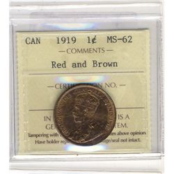 Cent 1919 ICCS MS62 Red & Brown.