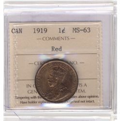 Cent 1919, ICCS MS-63; Red.