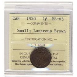Cent 1920 ICCS MS63; Small,  Lustrous Brown.