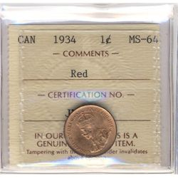 Cent 1934, ICCS MS-64; Red.
