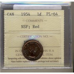 Cent 1954, ICCS PL-64; Red, NSF.