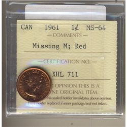 Cent 1961, ICCS MS-64; Red Missing M.
