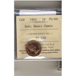Cent 1962, ICCS PL66; Red Heavy Cameo.