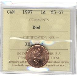 Cent 1997, ICCS MS-67; Red.