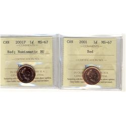 Cent 2001, ICCS MS-67; Red and 2001P NBU MS67; Red.