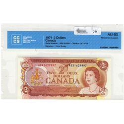 1974 Bank of Canada; 2 Dollars, CCCS AU-50 Charlton BC-47bA Replacement ABX1629997.