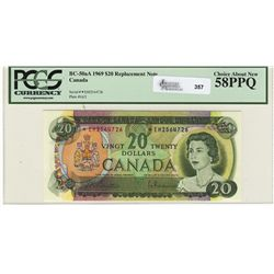 1969 Bank of Canada; 20 Dollars, PCGS CH AU-58PPQ, Charlton BC-50aA, *EH2564726.