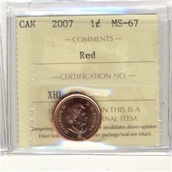 Cent 2007, ICCS MS-67; Red.