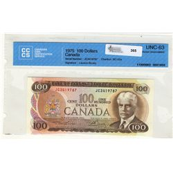 1975 Bank of Canada; 100 Dollars CCCS Choice UNC-63, BC-52a #JC3419787.