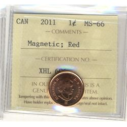 Cent 2011, 2012 Non Magnetic and 2012 Magnetic, ICCS MS-66; Red.