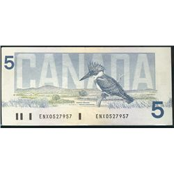 1986 Bank of Canada; 5 Dollars, VF-20 Charlton BC-56aA, ENX0527957 Yellow BPN Replacement.