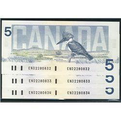 1986 Bank of Canada; 5 Dollars, Choice UNC-63 Charlton BC-56a, END2280832-833-834 Yellow BPN. Lot of