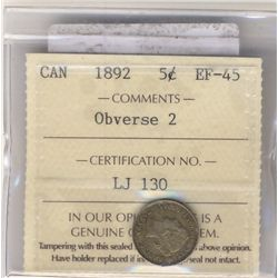 5 Cents 1892, ICCS EF-45 Obverse 2.