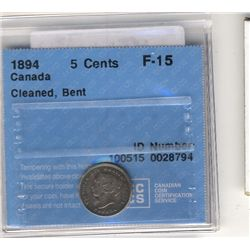 5 Cents 1894, CCCS F-15; Cleaned, Bent.