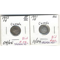 5 Cents 1901 & 1903 EF to AU.