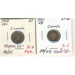 5 Cents 1901 & 1908 EF to AU.