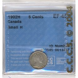 5 Cents 1902H, EF-45; Small H.