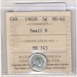 5 Cents 1902H, ICCS MS-62; Small H.