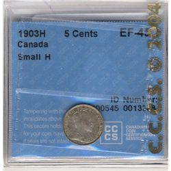 5 Cents 1903H, CCCS EF-45; Small H.