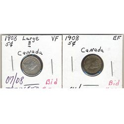 5 Cents 1908; Small & Large 8 VF to EF.
