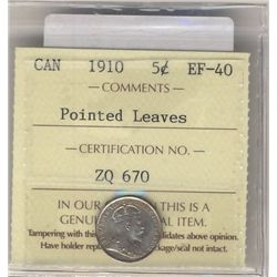 5 Cents 1910 Pointed Leaves ICCS EF40.