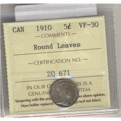 5 Cents 1910, ICCS VF30; Round Leaves.